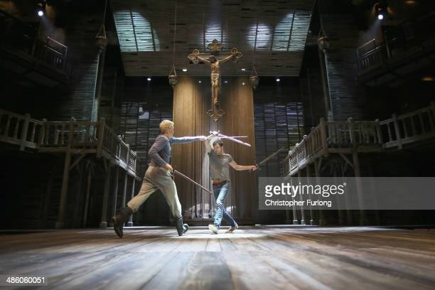 Actors Alex Hassell who plays Prince Hal and Trevor White, who plays Hotspur, rehearse a fight scene before the start of the matinee performance of...