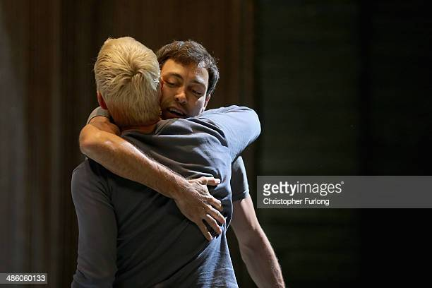 Actors Alex Hassell who plays Prince Hal and Trevor White, who plays Hotspur, embrace after rehearsing a fight scene before the start of the matinee...