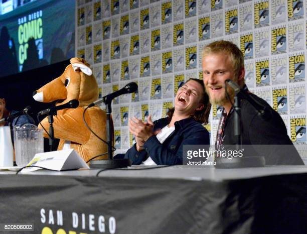 Actors Alex Hogh Andersen and Alexander Ludwig attend the 'Vikings' panel during San Diego ComicCon International 2017 at San Diego Convention Center...
