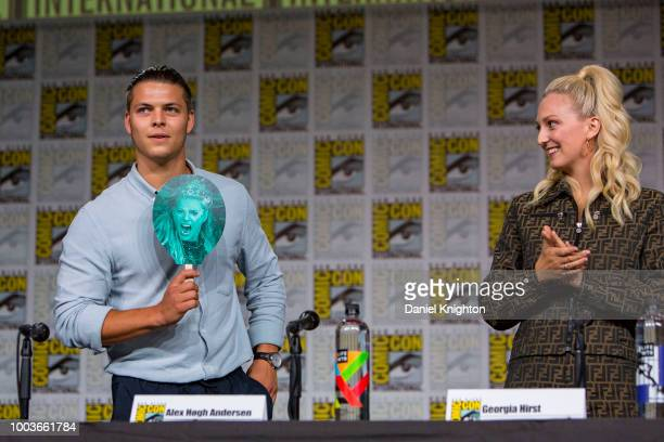 Actors Alex Hogh Andersen and Georgia Hirst attend the Vikings panel at ComicCon International on July 20 2018 in San Diego California