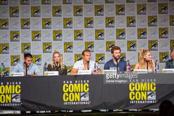 Actors Alex Hogh Andersen Georgia Hirst Alexander Ludwig Clive Standen and Katheryn Winnick attend the Vikings panel at ComicCon International on...