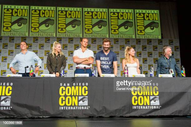 Actors Alex Hogh Andersen Georgia Hirst Alexander Ludwig Clive Standen Katheryn Winnick and writer/creator Michael Hirst attend the Vikings panel at...