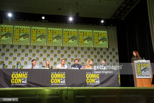 Actors Alex Hogh Andersen Georgia Hirst Alexander Ludwig Clive Standen Katheryn Winnick writer/creator Michael Hirst and moderator Kate Hahn attend...