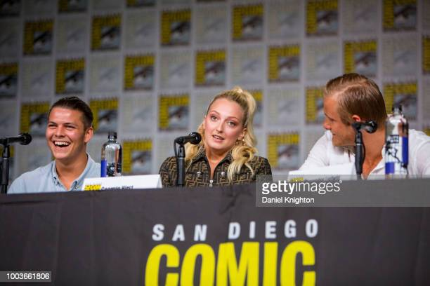 Actors Alex Hogh Andersen Georgia Hirst and Alexander Ludwig attend the Vikings panel at ComicCon International on July 20 2018 in San Diego...