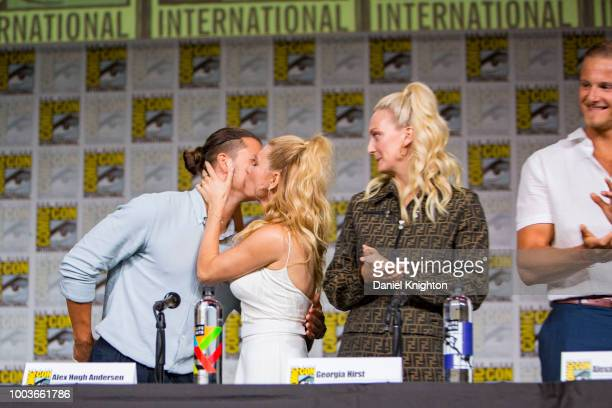 Actors Alex Hogh Andersen Katheryn Winnick Georgia Hirst and Alexander Ludwig attend the Vikings panel at ComicCon International on July 20 2018 in...