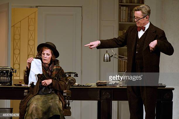 Actors Alex Jennings and Katherine Manley respectively play Henry Higgins and Eliza Doolittle during a dressed rehearsal of the musical My fair lady...