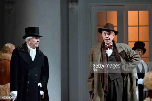 Actors Alex Jennings and Nicholas Le Prevost respectively play Henry Higgins and Colonel Pickering during a dressed rehearsal of the musical My fair...
