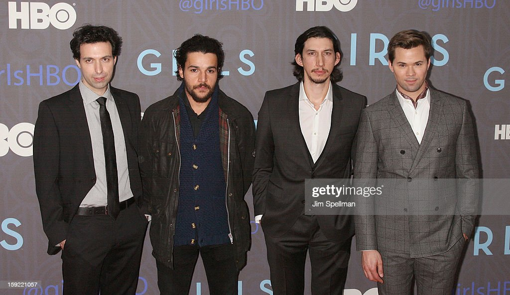 Actors Alex Karpovsky, Christopher Abbott, Adam Driver and Andrew Rannells attends Cinema Society Presents The World Premiere Of 'Girls' Season 2at NYU Skirball Center on January 9, 2013 in New York City.