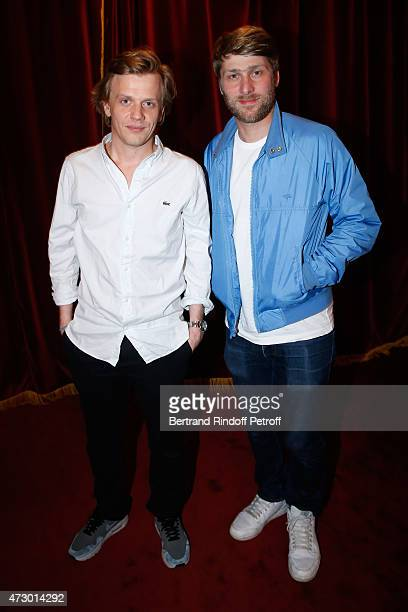 Actors Alex Lutz and Tom Dingler pose after the 'Open Space' Theater Play at Theatre de Paris on May 11 2015 in Paris France