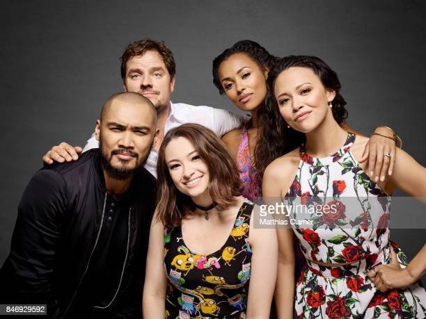 Actors Alex Mallari Jr., Anthony Lemke, Jodelle Ferland, Melanie Liburd and Melissa ONeil from 'Dark Matter' are photographed for Entertainment...