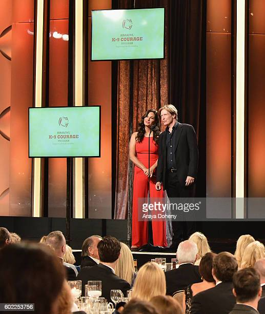 Actors Alex Meneses and Jack Wagner speak onstage during the Sixth Annual American Humane Association Hero Dog Awards at The Beverly Hilton Hotel on...