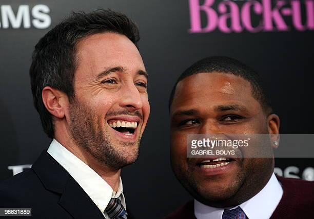 Actors Alex O'Loughlin and Anthony Anderson arrive at the premiere of The Backup Plan in Westwood California on April 21 2010 AFP PHOTO / GABRIEL...