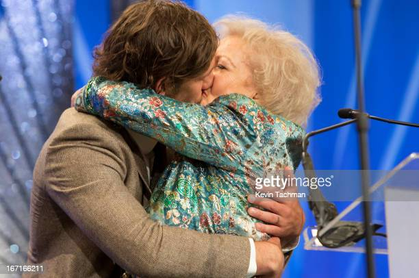 Actors Alex Pettyfer and Betty White on stage the 24th Annual GLAAD Media Awards presented by Ketel One and Wells Fargo at JW Marriott Los Angeles at...