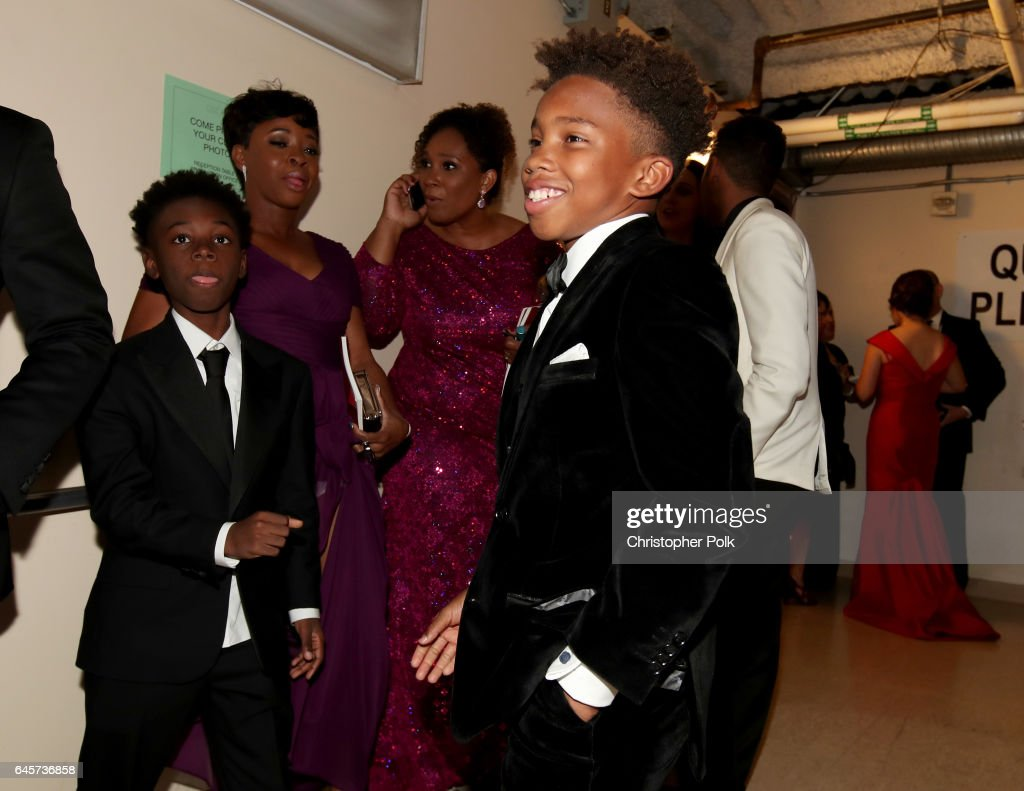 Actors Alex R. Hibbert (L) and Jaden Piner pose backstage during the 89th Annual Academy Awards at Hollywood & Highland Center on February 26, 2017 in Hollywood, California.
