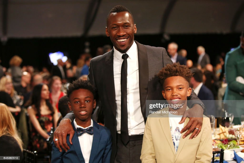 Actors Alex R. Hibbert, Mahershala Ali and Jaden Piner pose during the 2017 Film Independent Spirit Awards at the Santa Monica Pier on February 25, 2017 in Santa Monica, California.