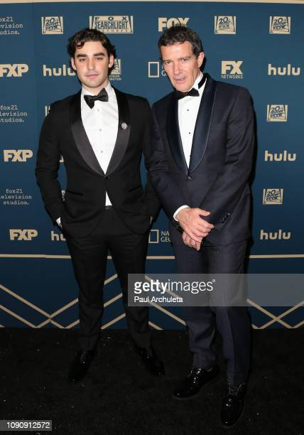 Actors Alex Rich and Antonio Banderas attend the FOX FX and Hulu 2019 Golden Globe Awards after party at The Beverly Hilton Hotel on January 06 2019...
