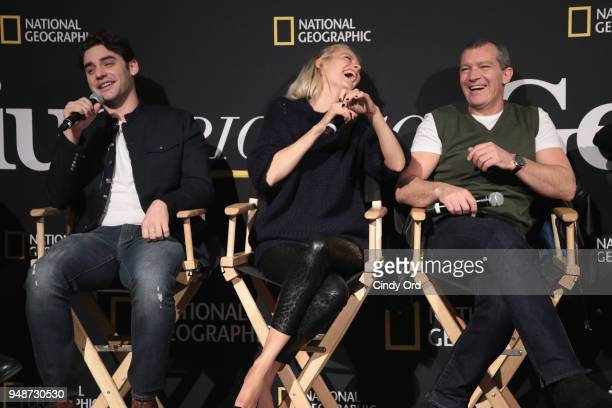 Actors Alex Rich Poppy Delevingne and Antonio Banderas speak during the 'Genius Picasso' interactive experience at the Genius Studio an interactive...