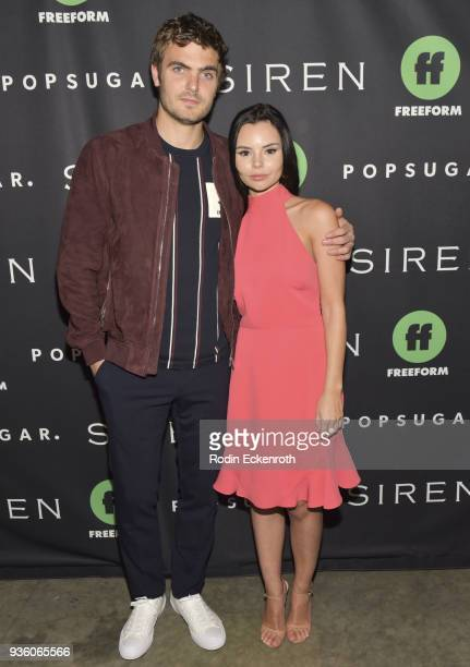 Actors Alex Roe and Eline Powell attend Freeform's Siren Red Carpet Event at Goya Studios on March 21 2018 in Los Angeles California