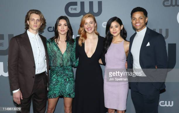 Actors Alex Saxon Maddison Jaizani Kennedy McMann Leah Lewis and Tunji Kasim attend the 2019 CW Network Upfront at New York City Center on May 16...