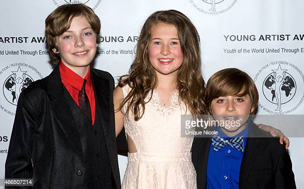 Actors Alex Thorne Kallan Holley and Christian Distefano attend the 36th annual Young Artist Awards at The Sportsmens Lodge on March 15 2015 in...