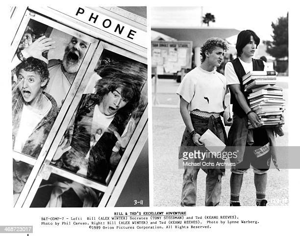 Actors Alex Winter Keanu Reeves and Tony Steedman actors Keanu Reeves and Alex Winter on set of the Orion Pictures movie 'Bill Ted's Excellent...