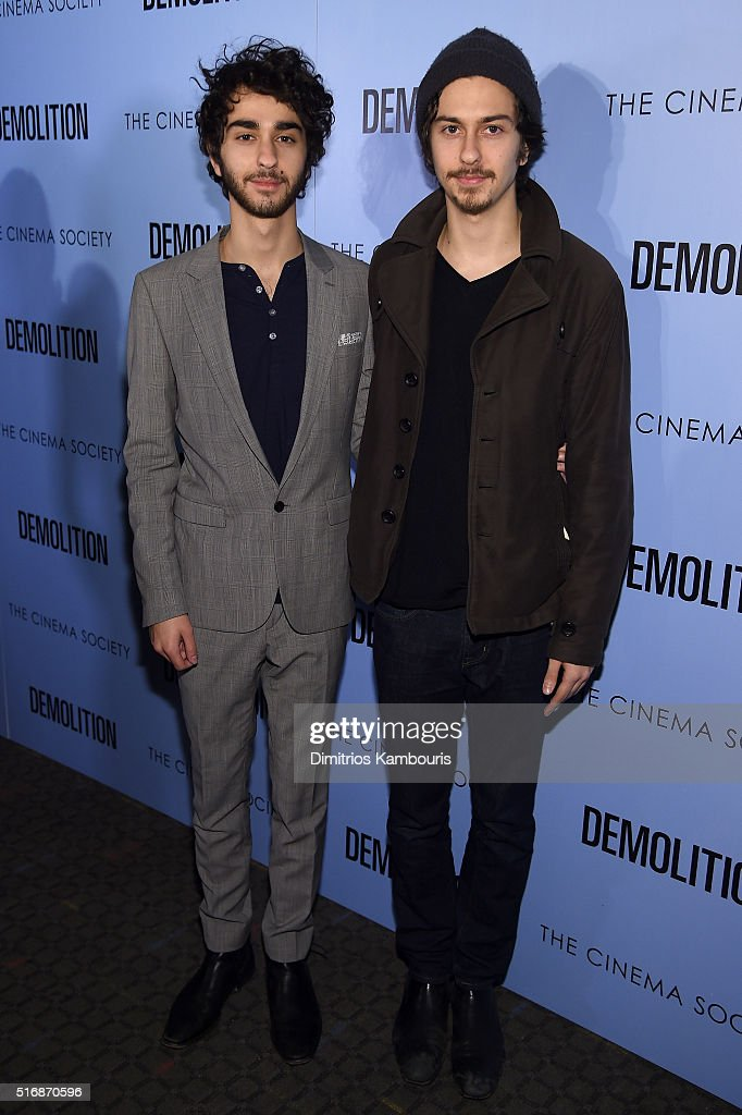 Actors Alex Wolff (L) and Nat Wolff attend a screening of 'Demolition' hosted by Fox Searchlight Pictures with the Cinema Society at the SVA Theater on March 21, 2016 in New York City.