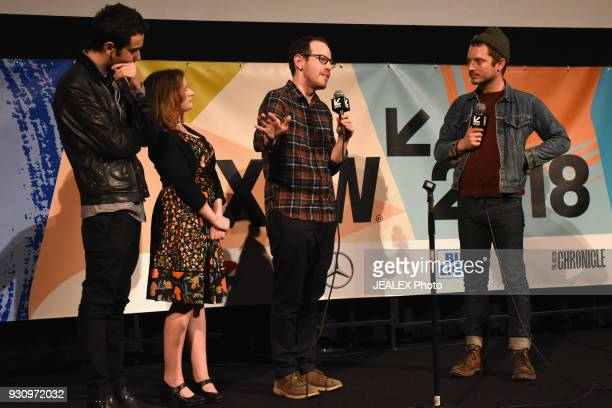 Actors Alex Wolff Milly Shapiro director Ari Aster and Elijah Wood speak onstage at the premiere of 'Hereditary' during SXSW at Alamo Lamar on March...