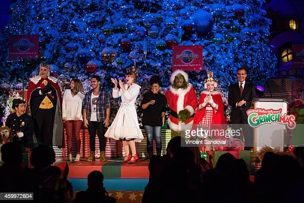 Actors Alexa PenaVega Carlos PenaVega Yvette Nicole Brown and Los Angeles Mayor Eric Garcetti attend Universal Studios Hollywood Grinchmas Wholidays...