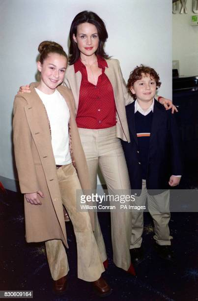 LR actors Alexa Vega Carla Gugino and Daryl Sabara the stars of the film arrive for the premiere of 'Spy Kids' in which he stars at the Odeon cinema...