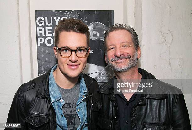 Actors Alexander Dreymon and David Zimmerman attend the 'Guys Reading Poems' fundraiser at V Wine Bar on April 11 2014 in West Hollywood California