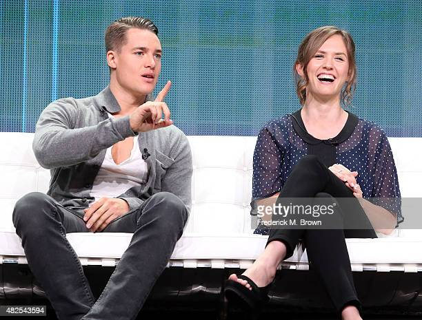 Actors Alexander Dreymon and Emily Cox speak onstage during the 'The Last Kingdom' panel discussion at the BBC America portion of the 2015 Summer TCA...