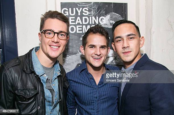 Actors Alexander Dreymon Daniel Berilla and Jason Fracaro attend the Guys Reading Poems fundraiser at V Wine Bar on April 11 2014 in West Hollywood...