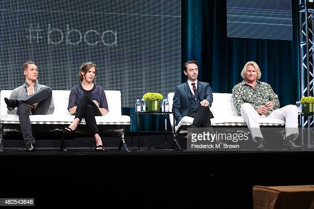 Actors Alexander Dreymon Emily Cox David Dawson and Rune Temte speak onstage during the 'The Last Kingdom' panel discussion at the BBC America...