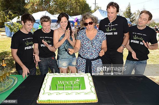 Actors Alexander Gould Hunter Parrish Mary Louise Parker Kevin Nealon Executive Producer Jinji Kohan and actor Justin Kirk celebrate the Showtime...