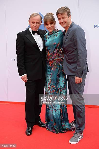 Actors Alexander Held Bernadette Heerwagen and Marcus Mittermeier arrive for the taping of the 'Bayerischer Fernsehpreis 2014' at...