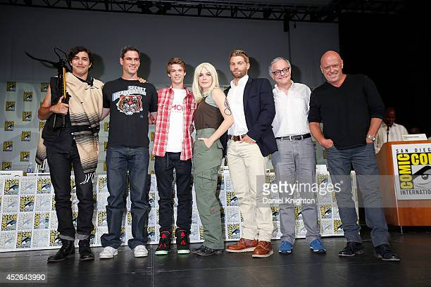 Actors Alexander Koch Eddie Cahill Colin Ford Rachelle Lefevre Mike Vogel producer Neal Baer and actor Dean Norris attend the CBS 'Under The Dome'...