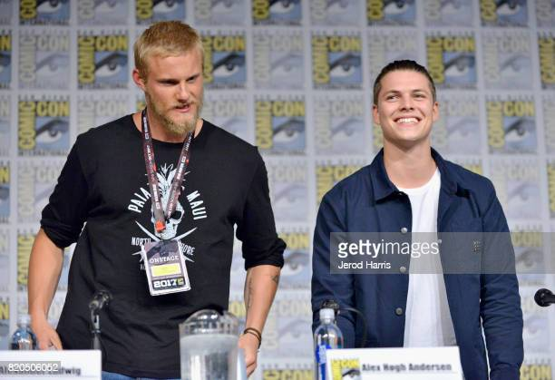 Actors Alexander Ludwig and Alex Hogh Andersen attend the 'Vikings' panel during San Diego ComicCon International 2017 at San Diego Convention Center...