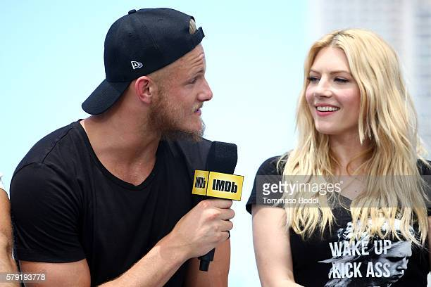 Actors Alexander Ludwig and Katheryn Winnick of Vikings attends the IMDb Yacht at San Diego ComicCon 2016 Day Two at The IMDb Yacht on July 22 2016...