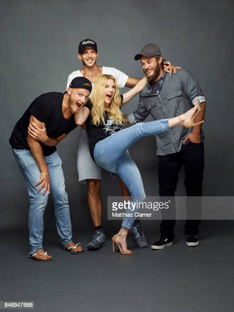 Actors Alexander Ludwig Gustaf Skarsgard Katheryn Winnick and Travis Fimmel from 'Vikings' are photographed for Entertainment Weekly Magazine on July...