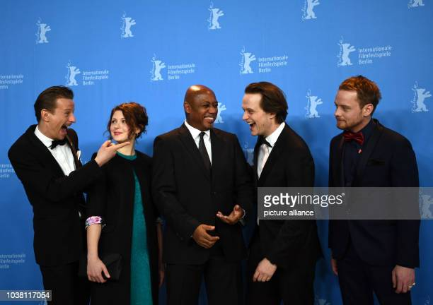 Actors Alexander Scheer Hannah Steele director Raoul Peck actor August Diehl and Stefan Konarske during a press event for the film 'The Young Karl...