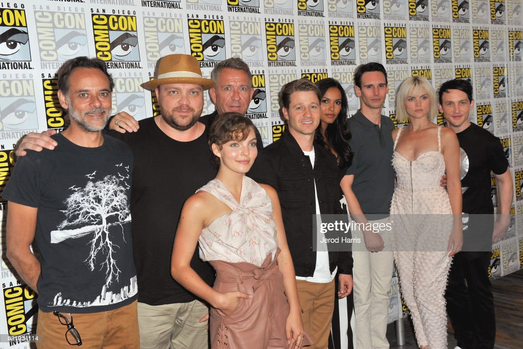 Actors Alexander Siddig, Drew Powell, Sean Pertwee, Camren Bicondova, Ben McKenzie, Jessica Lucas, Cory Michael Smith, Erin Richards and Robin Lord Taylor at the 'Gotham' Press Line during Comic-Con International 2017 at Hilton Bayfront on July 22, 2017 in San Diego, California.