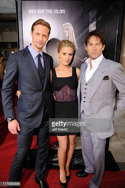 Actors Alexander Skarsgaard Anna Paquin and Stephen Moyer arrive at the HBO Premiere of True Blood Season 4 at ArcLight Cinemas Cinerama Dome on June...