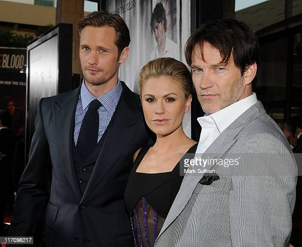 Actors Alexander Skarsgaard Anna Paquin and Stephen Moyer arrive on the red carpet for HBO's True Blood season 4 premiere at The Dome at Arclight...