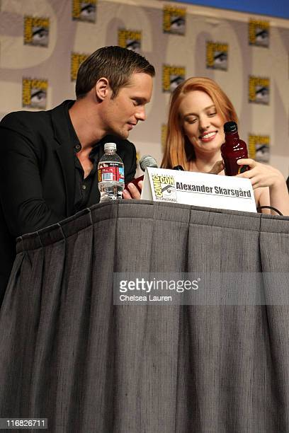 Actors Alexander Skarsgard and Deborah Ann Woll attend the 'True Blood' panel on day 3 of the 2009 ComicCon International Convention on July 25 2009...