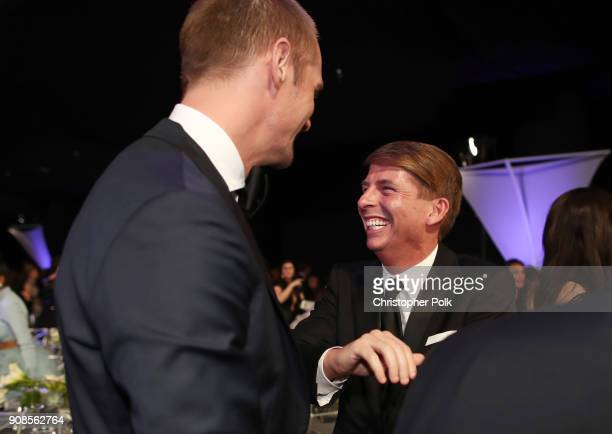Actors Alexander Skarsgard and Jack McBrayer attend the 24th Annual Screen Actors Guild Awards at The Shrine Auditorium on January 21 2018 in Los...