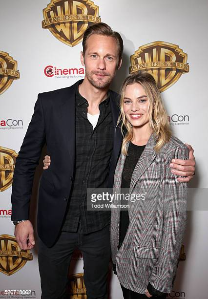 """Actors Alexander Skarsgard and Margot Robbie of 'The Legend of Tarzan' attend CinemaCon 2016 Warner Bros Pictures Invites You to """"The Big Picture"""" an..."""