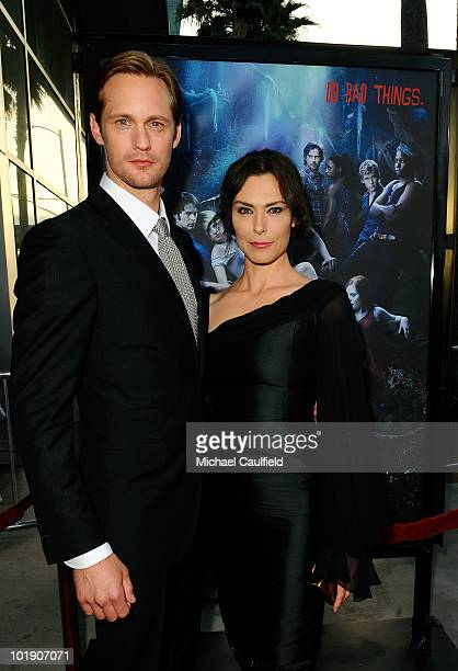 Actors Alexander Skarsgard and Michelle Forbes arrive at HBO's True Blood Season 3 premiere held at the ArcLight Cinemas Cinerama Dome on June 8 2010...