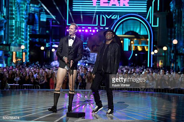 Actors Alexander Skarsgard and Samuel L Jackson speak onstage during the 2016 MTV Movie Awards at Warner Bros Studios on April 9 2016 in Burbank...