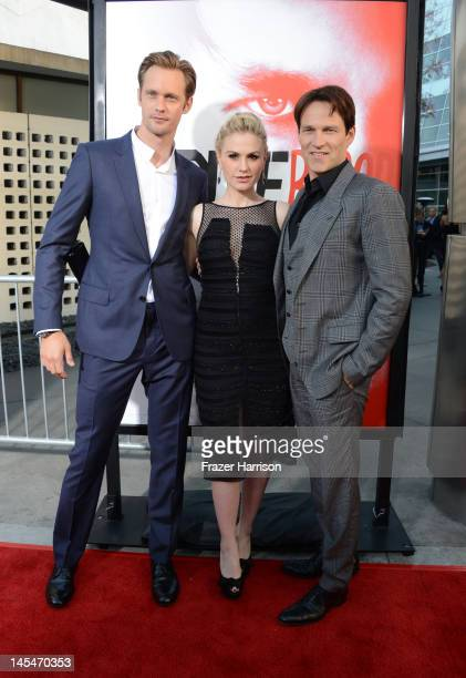 Actors Alexander Skarsgard Anna Paquin and Stephen Moyer arrive at the Premiere Of HBO's True Blood 5th Season at ArcLight Cinemas Cinerama Dome on...