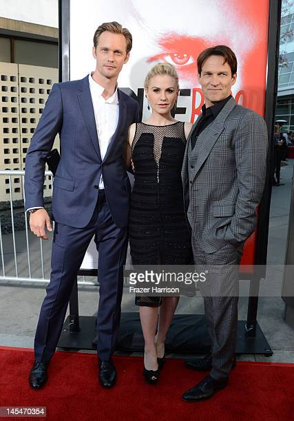 Actors Alexander Skarsgard Anna Paquin and Stephen Moyer arrive at the Premiere Of HBO's 'True Blood' 5th Season at ArcLight Cinemas Cinerama Dome on...